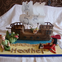 Peter Pan Themed Ship Cake Ship cake with sugarpaste figures, tic toc croc, Captain Hook, Peter Pan and Tinkerbell