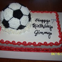 Soccer Ball Smashed Into Cake I was told two things: soccer ball needed to be smashed into cake as if it was kicked into it and we hate fondant. So, all buttercream and...