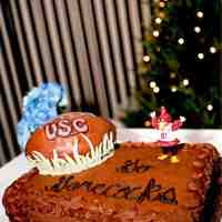 Carolina Gamecocks Groomscake A groomscake for a Gamecocks fan. Cocky is a Christmas ornament. The rest is all cake. This isn't the greatest picture, but it's...