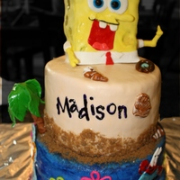 Sponge Bob Chocolate Cake w/ sweet cream buttercream, vanilla cake with strawberry buttercream & lemon cake with raspberry & sweet cream...