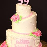 "99Th Birthday Cake My first topsy turvy cake. 10"", 7"" and 3"" of french vanilla WASC with whipped cream and strawberry filling, iced with..."