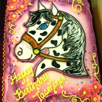 Horse Cake 1/2 sheet of triple chocolate fudge cake with oreo filling, iced in buttercream. The pony is from a coloring book and I made a fondant...
