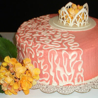 Cornelli Lace & Hydrangea Garden Cake Designed for an older woman, this vanilla cake is covered with strawberry buttercream frosting. Royal icing was used to create the half-...