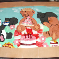 Child's Birthday Bear Picnic Cake What child wouldn't love bears join him/her at their birthday party? Patchwork cutters from the Bear Picnic Set were used to create...