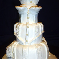 "Mini Bridal Dress Cake This miniature cake was made out of 3"", 4"", & 5"" tiers. Decorative work was dusted with white sparkle dust. This cake..."