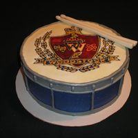 Whs Drum Cake Made this for auction at local high school band's bingo night fund raiser. School logo in color flow.