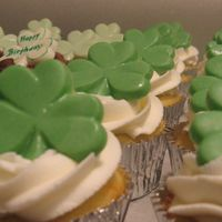 St. Patty's Day B-Day These are some cupcakes I made for a birthday - St Patty's day celebration. BC frosting and candy molded shamrocks