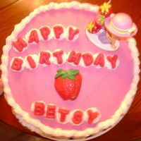 "Strawberry Shortcake Birthday Cake  Strawberry Shortcake 10"" Round strawberry cake with buttercream icing Letters and big strawberry made with chocolate - Strawberry..."