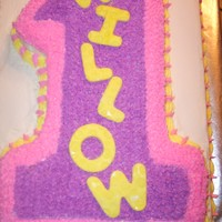 Willow's First Birthday Cake This was made for a close friends baby girl who was 1 year old - Top # 1 and bottom (11 X 15) cake decorated all in buttercream. I cut the...