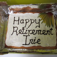 Retirement Cake Fat free lime sponge cake with mango pieces filling and lime creme fraiche filling and topping and mango decoration. Made it for a lady at...