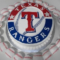 Texas Rangers Cake   Texas Rangers cake with baseball cupcakes. Chocolate with buttercream
