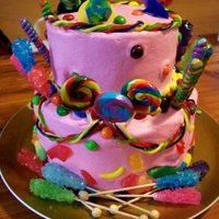 Candy Cake Client wanted a cake covered in candy. Buttercream with lots of candy!!