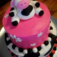 Lil Cowgirl Birthday Niece was having a cow birthday--Buttercream with fondant accents and fondant figure