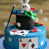 "Magic Show  Inspired by other magic cakes on CC! 10"" and 4"" cakes, bunny is krispie treats covered in fondant. Had a blast making this cake..."
