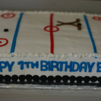 Hockey Cake Chocolate cake with oreo filling. The birthday boy loves hockey.