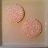"Lotus Flower Cookies lotus flower cookie favors for a ""Yoga"" themed Birthday party. NFSC with fondant and RI."