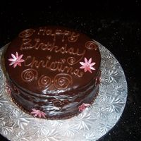 Chocolate Ganache Birthday Cake With Gumpaste Flowers