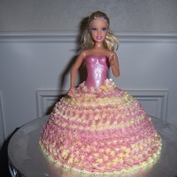 Barbie Doll Dress Cake   Made this for my daughters 4th birthday. She LOVED it!