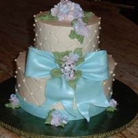 Hydrangea And Bow Cake This was for a friend of a friend. I didn't have a clue what I wanted it to look like, but I'm happy with the results. I kind of...