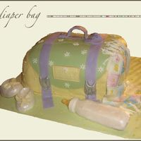 Diaper Bag  I made this cake for my sister's baby shower. I used a 3-D mold to make the bottle and the booties, but next time I will try the...