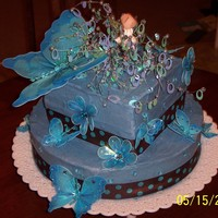 Paislee's 3Rd Birthday Cake cornflower bule cake with beads and angel