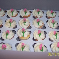 Rose Cupcake mini cupcakes for wedding shower goes with the heart cookies. Lady said that only thing is that the icing was crumbly after they sat...