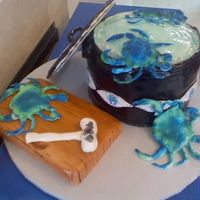 Blue Crabs On The Run This is a cake for a birthday party the lady loves to eat blue crabs, the pot is vanilla and choc cake, and the cutting board choc cake,...