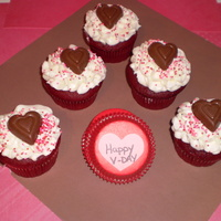 Happy Valentines Red velvet cupcakes with CC/BC and a reeses peanut butter heart