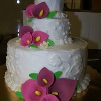 Mini Wedding Cake Butter cream frostingwith Gum paste Calla Lillies