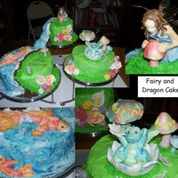 Fairy And Dragon Cake  All decorative pieces are sculpted from gum paste/fondant and are edible, except the Fairy's wings (which are wire dipped gelatin) and...