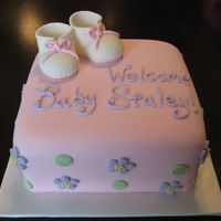 "Optimized-Baby-Shower.jpg 8"" square cake covered in fondant. Hand-made gumpaste booties."