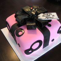 "Pink & Black Birthday Present 8"" square cake covered in fondant with gumpaste loop bow, airbrushed(still wet in photo)"