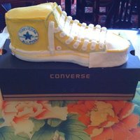 Converse Shoe My son wanted a Converse shoe for his 13th birthday cake. I am not thrilled with the outcome but it's ok. I was attempting to make it...
