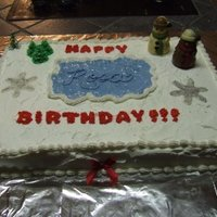 Winter Scene Birthday Cake winter themed cake for a co-worker's birthday. The snowmen are chocolate candy from the store. The ice / water is piping gel. There...