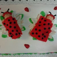 Twin Lady Bug Babies Made for a mom having twin girls with a lady bug/garden theme for the shower. Cake is vanilla with buttercream icing. Flowers, babies, lady...