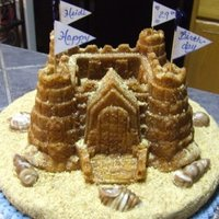"Sand Castle Cake The bottom cake is a 12"" round with buttercream icing and crushed graham crackers for the sand. The sandcastle cake was made with a..."