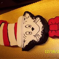 Cat In The Hat Make a picture of the cat, cut each part individual, trace it on the cake and cut each part on the cake, using 2 sheets of cake cut all the...