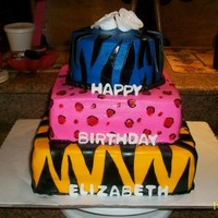 "Animal Print 12"", 10"", and 8"" all chocolate with strawberry filling, frosted in butter cream and accented with fondant. They wanted a..."