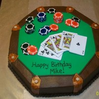 "Texas Hold'em This cake was carved from a 16"" round. It's chocolate with chocolate butter cream and accented with fondant. Cards are edible..."