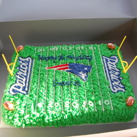 Ne Patriots Cake Chocolate cake with butter cream icing and decorations. Done for a friends son.