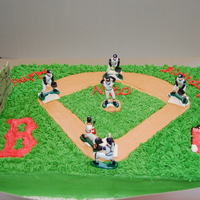 Red Sox Cake Vanilla cake with buttercream frosting and fondant accents. Her son was very specific about this cake. His request was for Ellsbury #2 of...