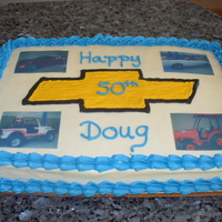50Th Birthday vanilla cake with buttercream frosting & edible images