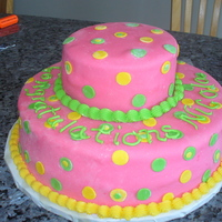 Pink Polka Dot Graduation Cake Cake is layered choc & vanilla cake with buttercream frosting covering in mmf fondont.