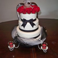 Black And White Wedding Cake (My First Wedding Cake) mmf wedding cake white with black trim and real red roses. My very first wedding cake. Yay, I finally did one