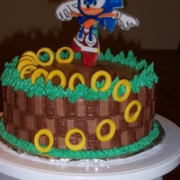 Sonic The Hedgehog Cake   Simple cake - Sonic following the gold rings...