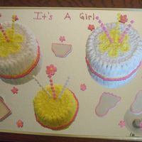 Its A Girl   Its a girl cake, baby bottle, diaper and foot prints are all made of fondant.