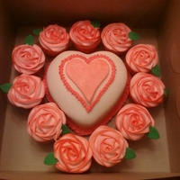 Heart And Roses   Rose cupcakes with Red Velvet Heart Cake covered in fondant
