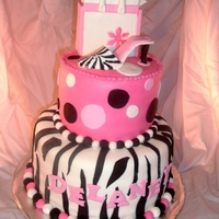 Pink And Zebra Birthday Pink Polka Dots and Zebra with a Shoe topper