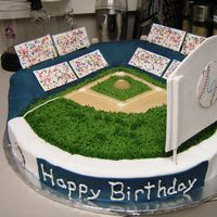 Baseball Stadium Cake is the diamond the rest is rice cereal treat covered in fondant.