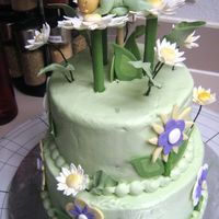 Garden Baby Cake Buttercream icing with gumpaste flowers and baby